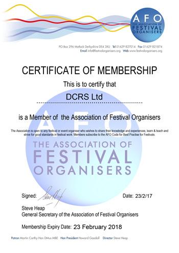 DCRS Ltd Membership Certificate